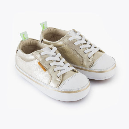 Tip Toey Joey Funky Shoes - White/Gold