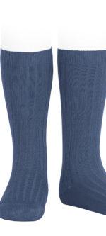 Condor ribbed knee high socks Cobalto #470